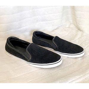 DV Sz 9.5 Black Suede Perforated Slip On Sneakers